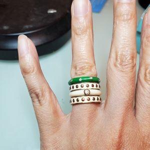 Nordstrom White green enamel stacking rings